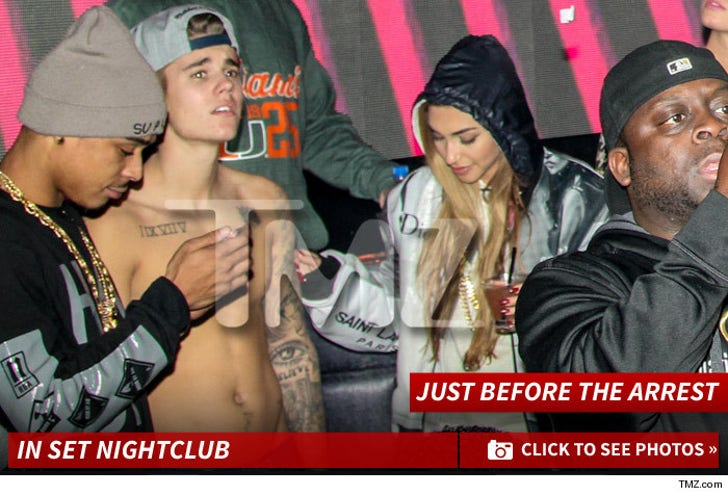 Justin Bieber in Set Night Club -- Just Before The Arrest