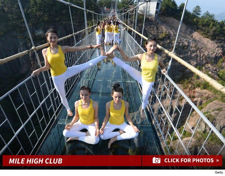 Spandex Clad Yogis Stretch on Sketchy Bridge -- The Suspense!