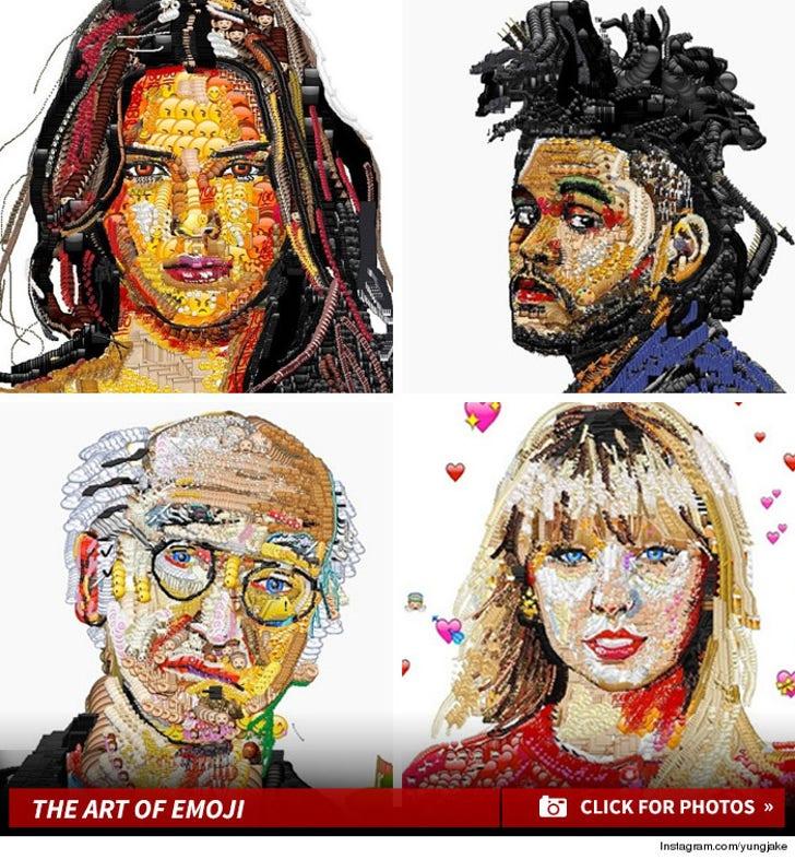 Instagram Artist Creates Celeb Portraits Using Emojis!