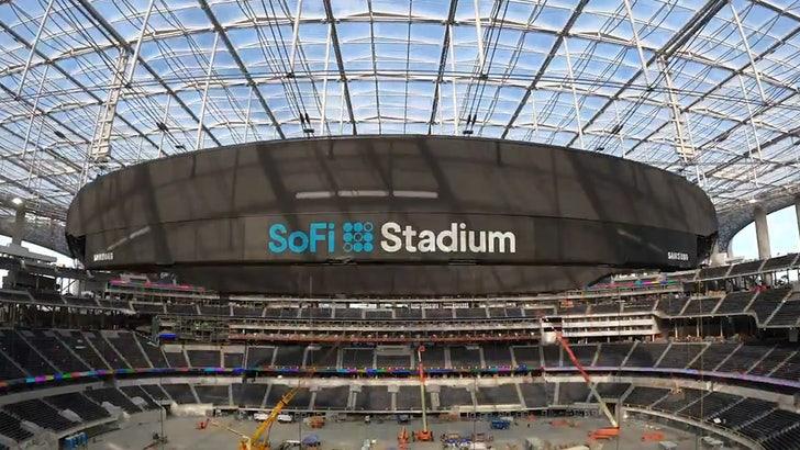 Rams Chargers Hang Monstrous Scoreboard At Sofi Stadium 2 2 Million Lbs