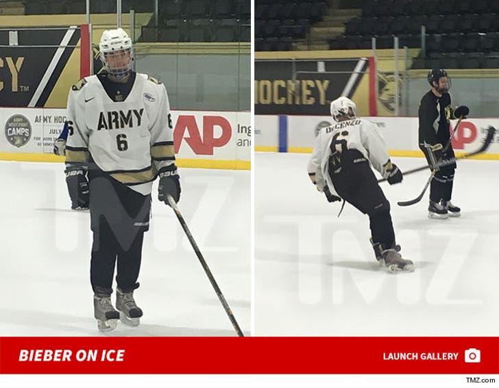 Justin Bieber Playing Army Hockey
