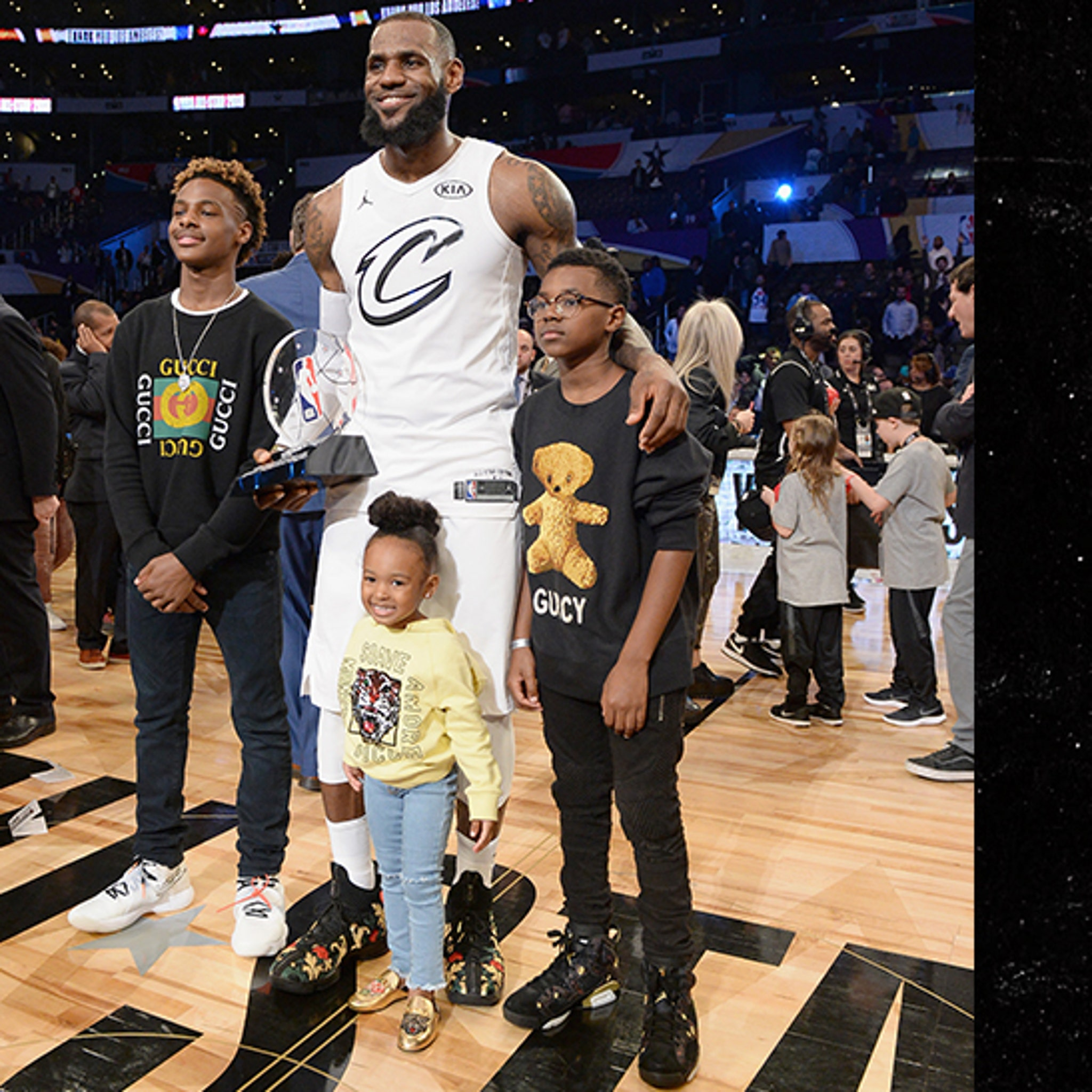 new styles 8e8df bd30f LeBron James' Kids Fitted in Over $3k of Gucci Merch at All ...
