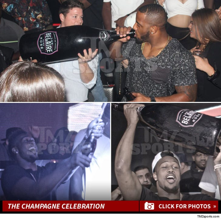 Jonas Gray and Chandler Jones -- The Champagne Celebration