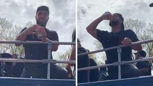 Drake Chugs Beer At Toronto Raptors' Championship Parade!!!