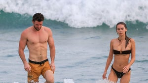 Liam Hemsworth & GF Gabriella Brooks Show Off Toned Bods at the Beach