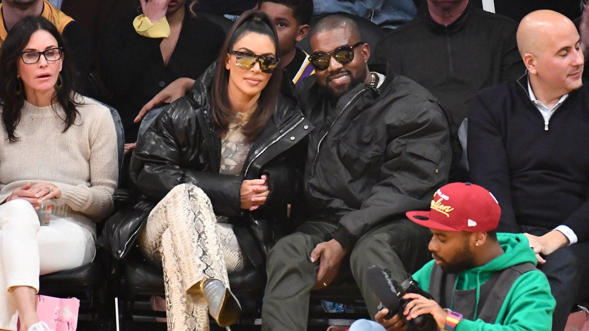 Kim Kardashian and Kanye Watch Lakers Smash Cavs, Khloe's Ex Tristan Thompson