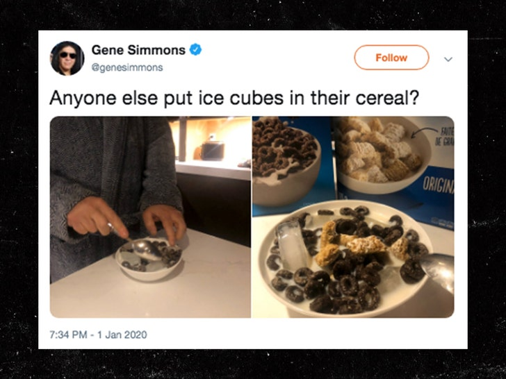 Gene Simmons Puts Ice Cubes In His Cereal Making Everyone Freak Out