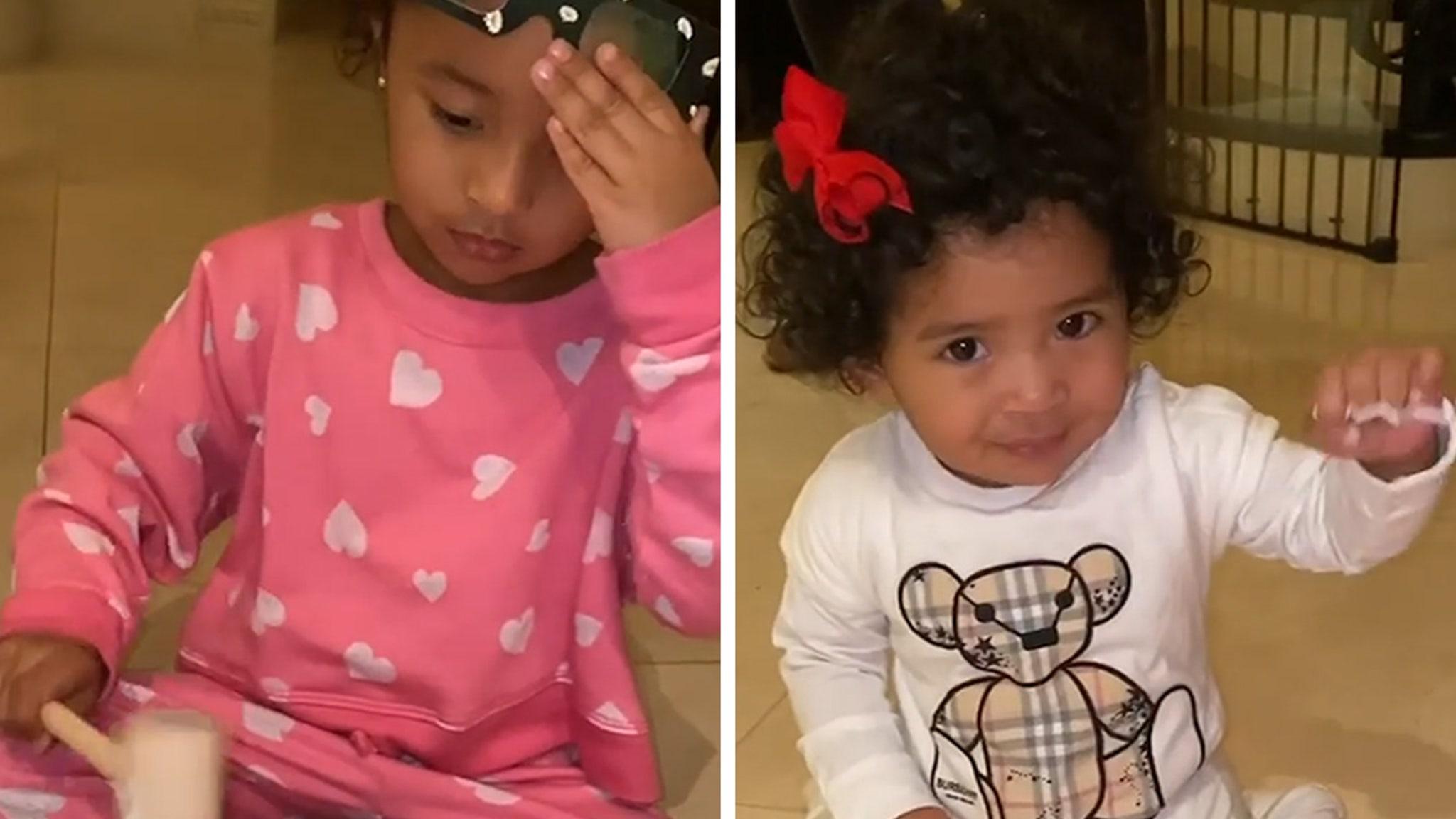 Vanessa Bryant Helps Bianka and Baby Capri Open Easter Treats