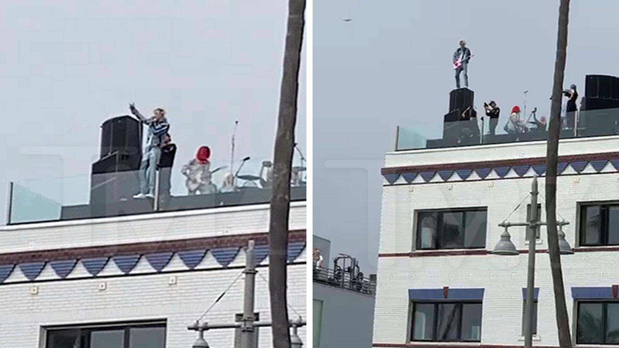 MGK, Travis Barker's Rooftop Performance Looked Kinda Dangerous - TMZ