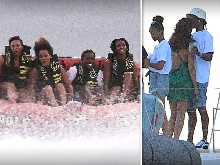 Rihanna and A$AP Rocky Jet Ski, PDA in Barbados