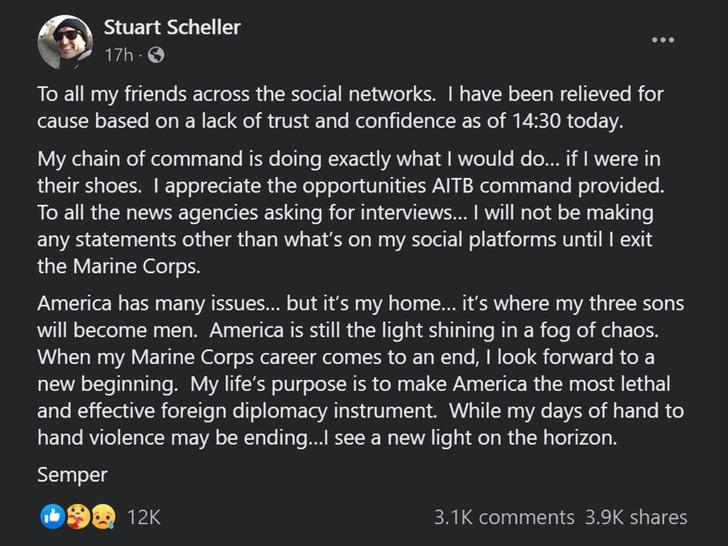 Stuart Scheller facebook post