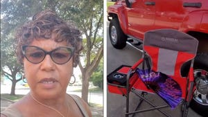 Patriotic Voter Preps for Long Poll Lines with Chair and Snacks