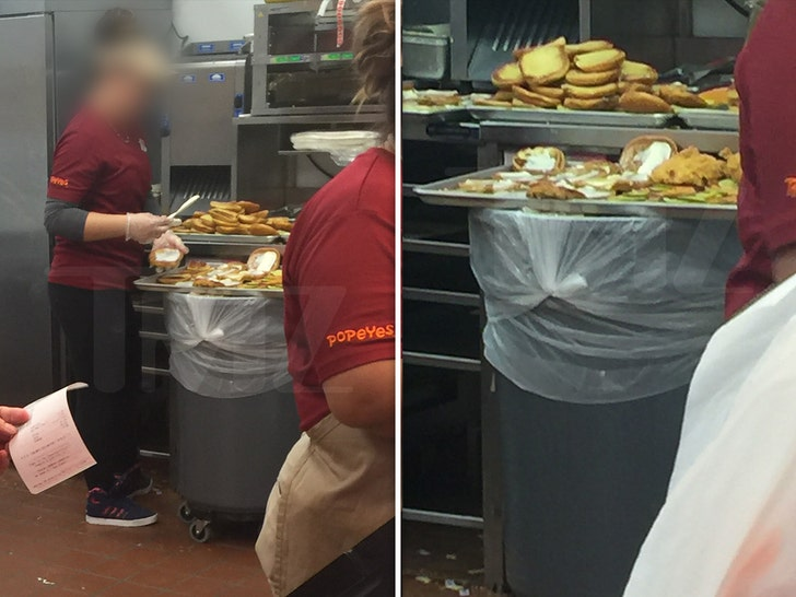 Popeyes Employees Make Chicken Sandwiches Over Garbage