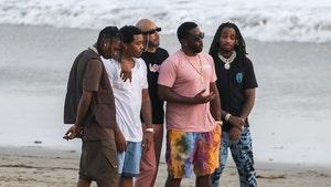Diddy Hits Beach in Malibu with Nas, Travis Scott, Quavo & Swizz Beatz
