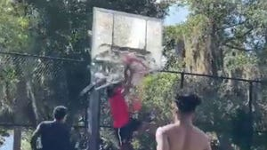 Edgerrin James' Hoop Destroyed By College Player's Violent Dunk, Insane Video!