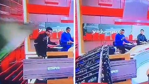 Soccer Journalist Crushed By Falling Wall On TV Set, Insane Video