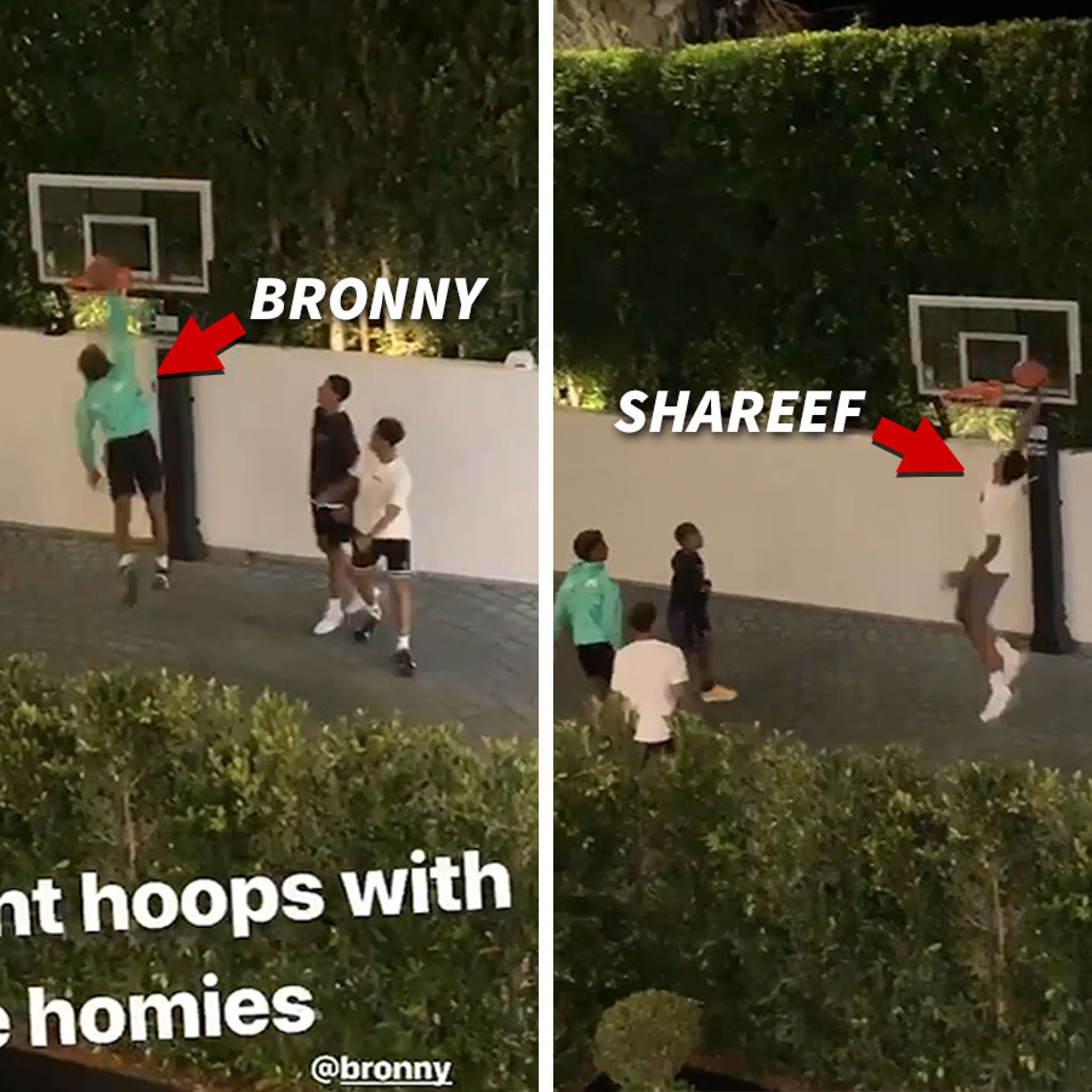 Bronny James Throws Sick Dunks In Hoops Sesh with Shareef O'Neal
