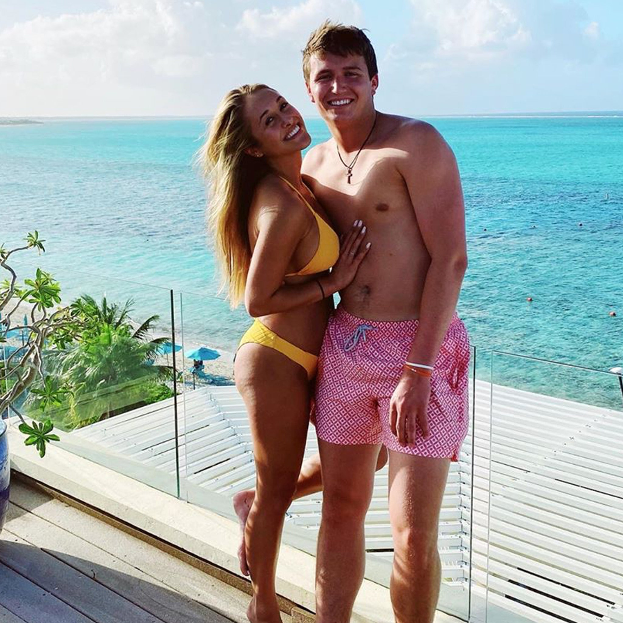Drew Lock Rocks Pink Short Shorts On Baecation With GF in Bikini
