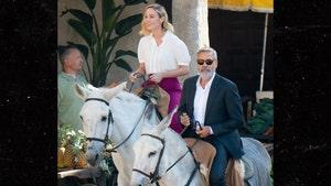 George Clooney Rides Donkey Alongside Brie Larson