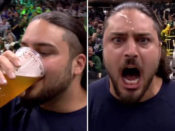 David Bakhtiari chugging beer