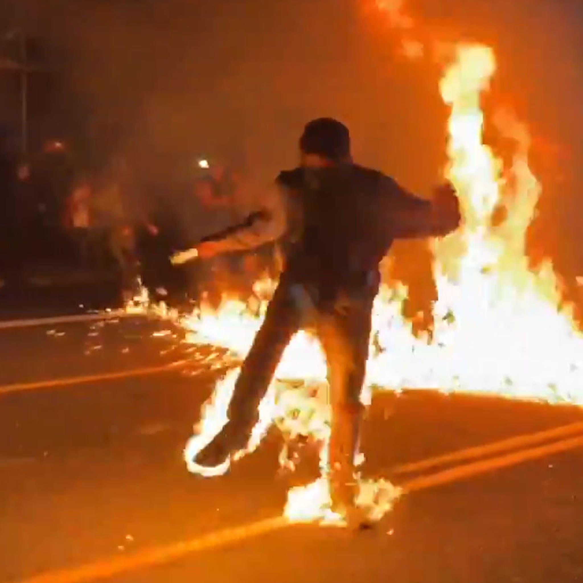 Antifa Feet On Fire Gif