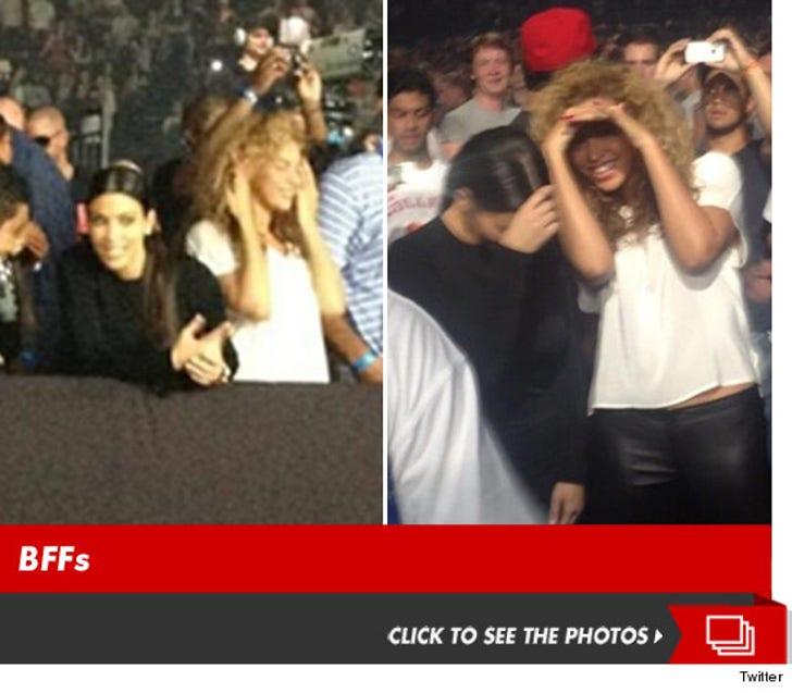 Kim K & Beyonce -- Female Bonding at Kanye & Jay-Z's Show