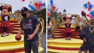 Rob Gronkowski Hits Up Disney After Super Bowl, Teaches Mickey The Gronk Spike!