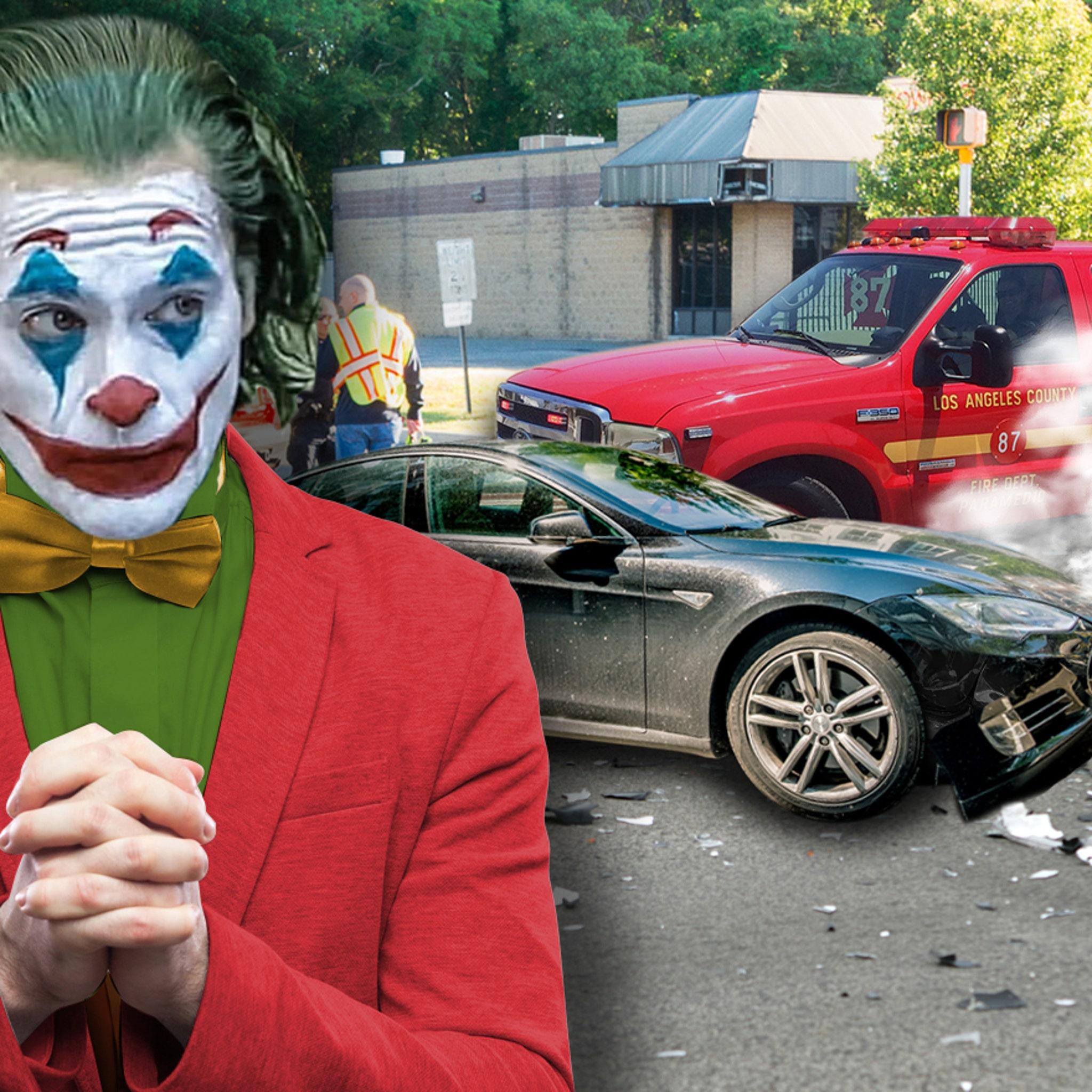Joaquin Phoenix Hits Paramedics' Truck with Tesla