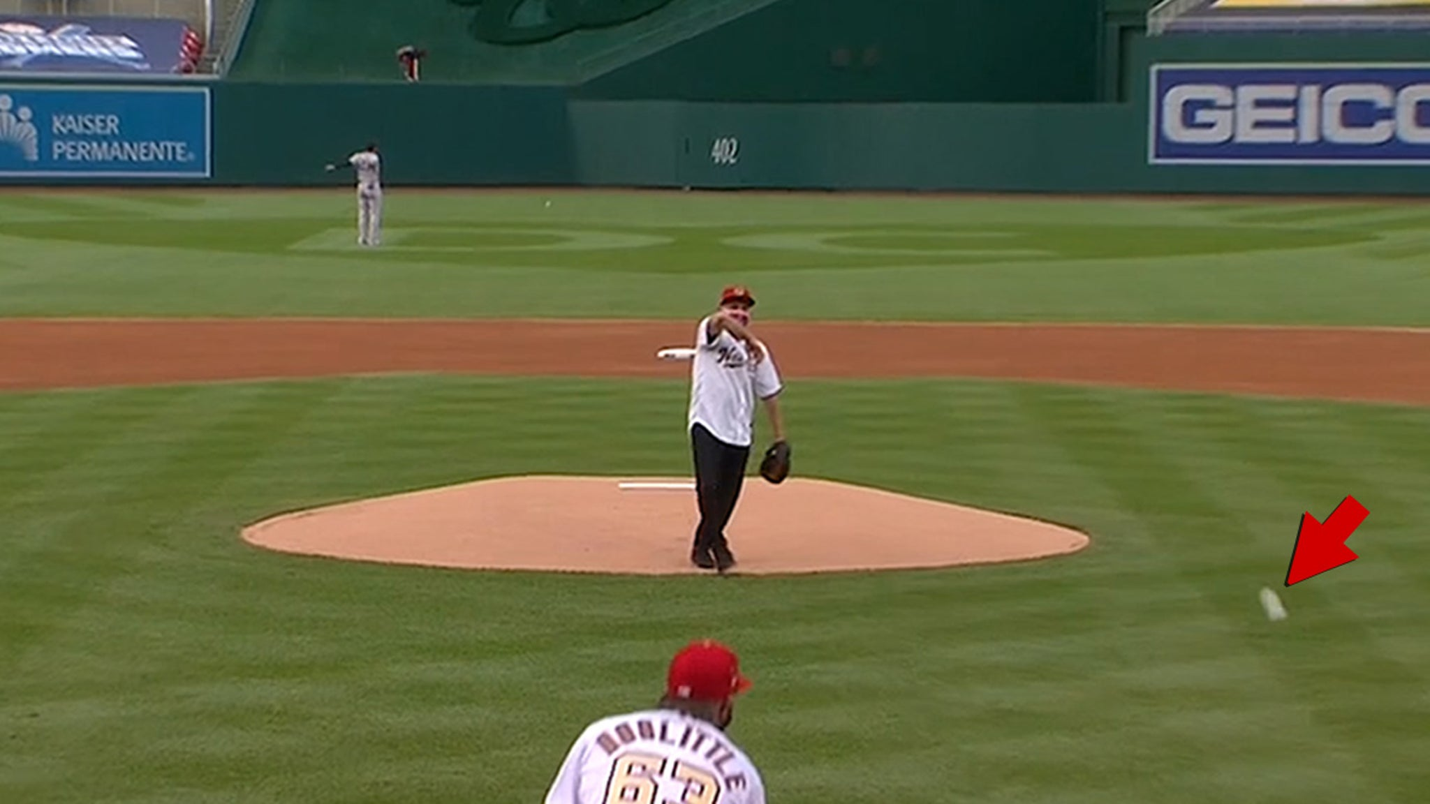 Dr. Anthony Fauci Ceremonial 1st Pitch Social Distances From Strike Zone