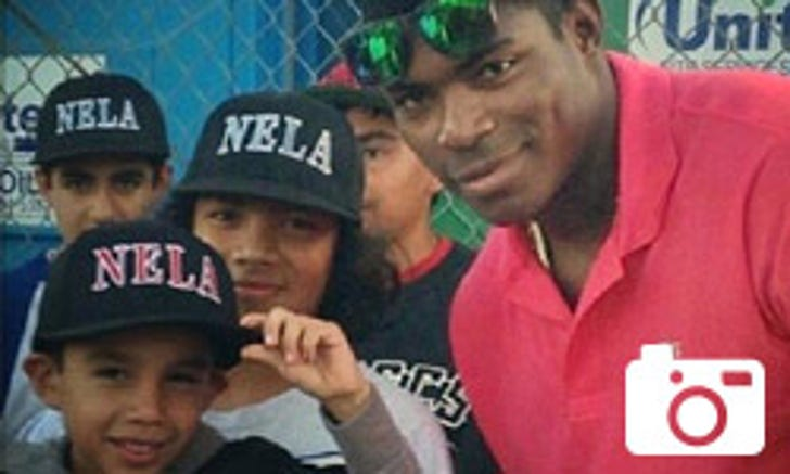 Yasiel Puig Attends L.A. Little League Game