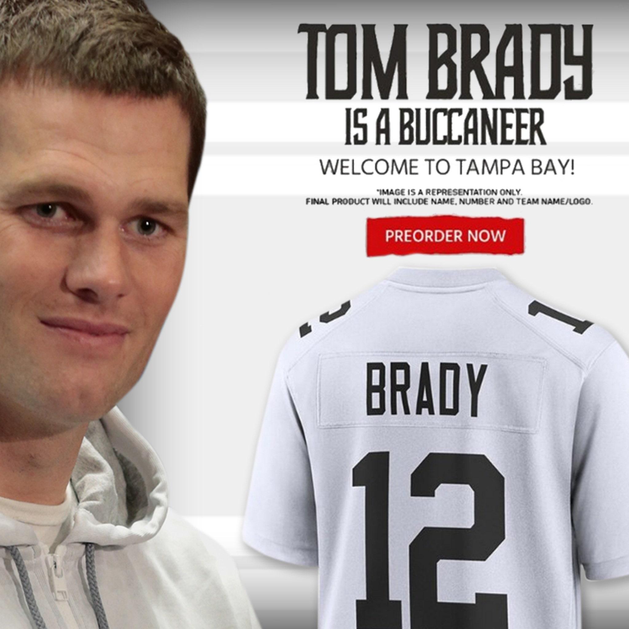 Bucs Already Selling Tom Brady #12 Jerseys, QB Puts On Cliche ...