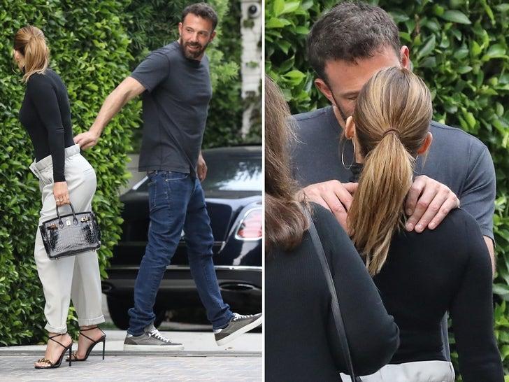 Ben Affleck and Jennifer Lopez Kiss Outside His Home