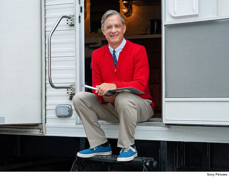 Tom Hanks In Full Costume As Mr Rogers For First Time