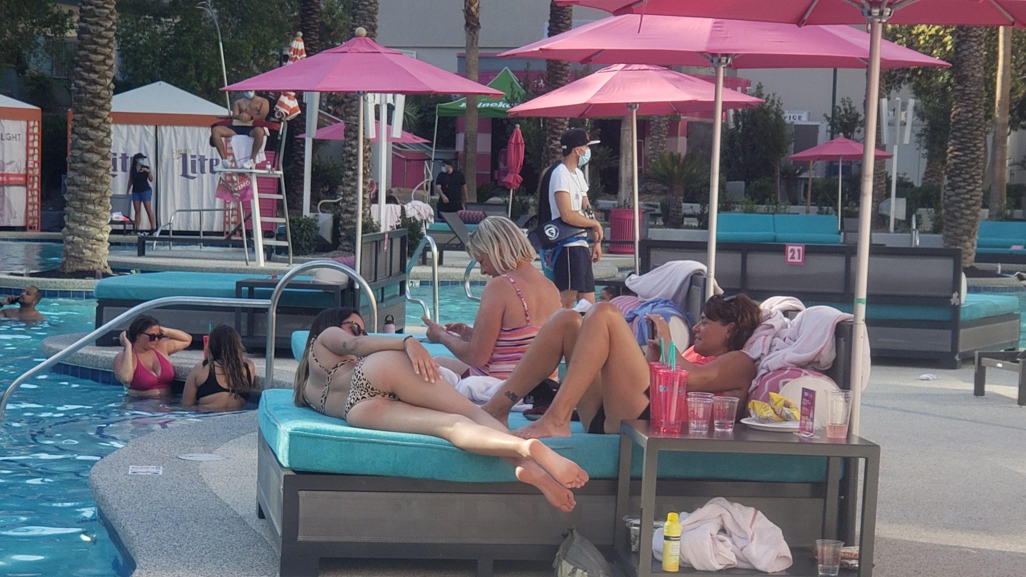 Las Vegas Reopening First Pool Party at Flamingo Face Masks & Bikinis All Around!!!