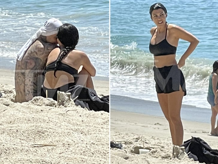 Kourtney Kardashian and Travis Barker Snuggle Up on Beach Date
