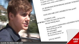 Justin Bieber Photo Shoot Rules -- Don't Talk to Me ... And No Selena Gomez Music!!!