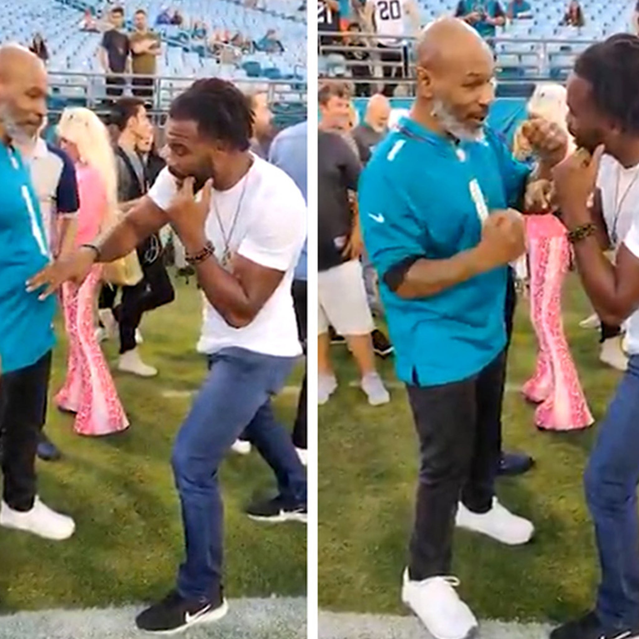 Mike Tyson Gives Sideline Fight Clinic to UFC Hall of Famer at NFL Game