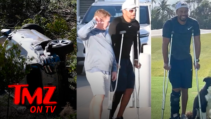 Tiger Woods Walks With Crutches Just 4 Months After Life Threatening Car Accident | TMZ TV.jpg
