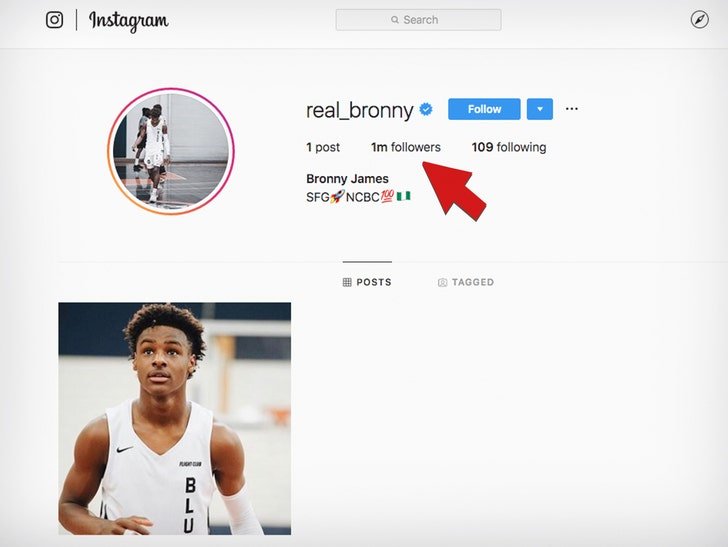 Bronny James Hits 1 Million Instagram Followers in One Day