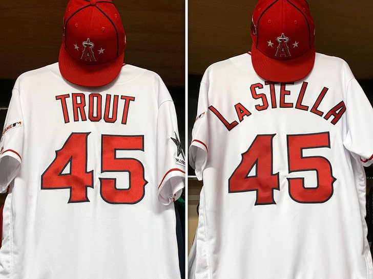 best website 33e2c 8142f Mike Trout Honors Tyler Skaggs at All-Star Game with No. 45 ...