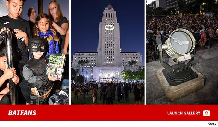 Batman Fans Show Up To Bat Signal Lighting Ceremony