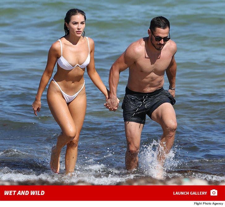 Danny Amendola's Beach Football Workout with Olivia Culpo
