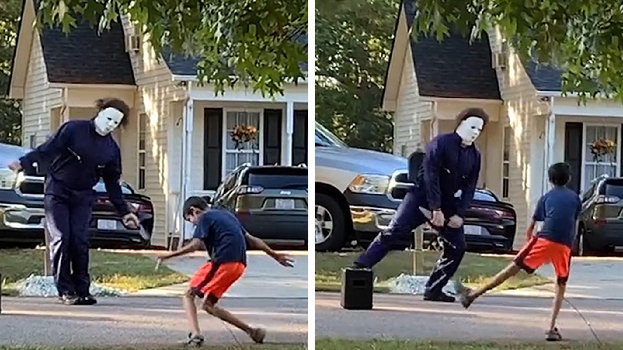Michael Myers Has Halloween Dance-Off With Neighbor Kid