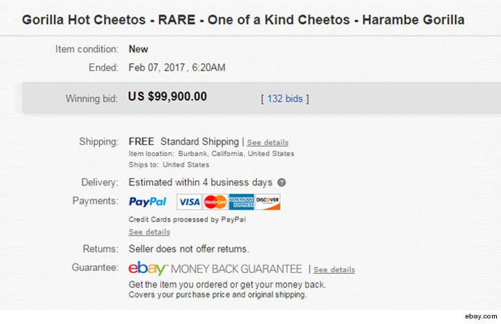 Harambe Shaped Cheeto Sale For 100k May Ebay But Don T Count On It
