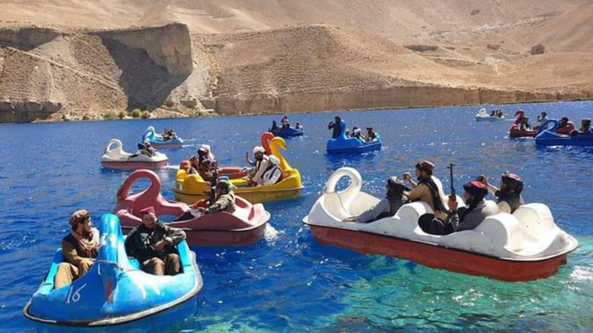 Taliban Pedal Boating with Assault Rifles in Afghanistan National Park