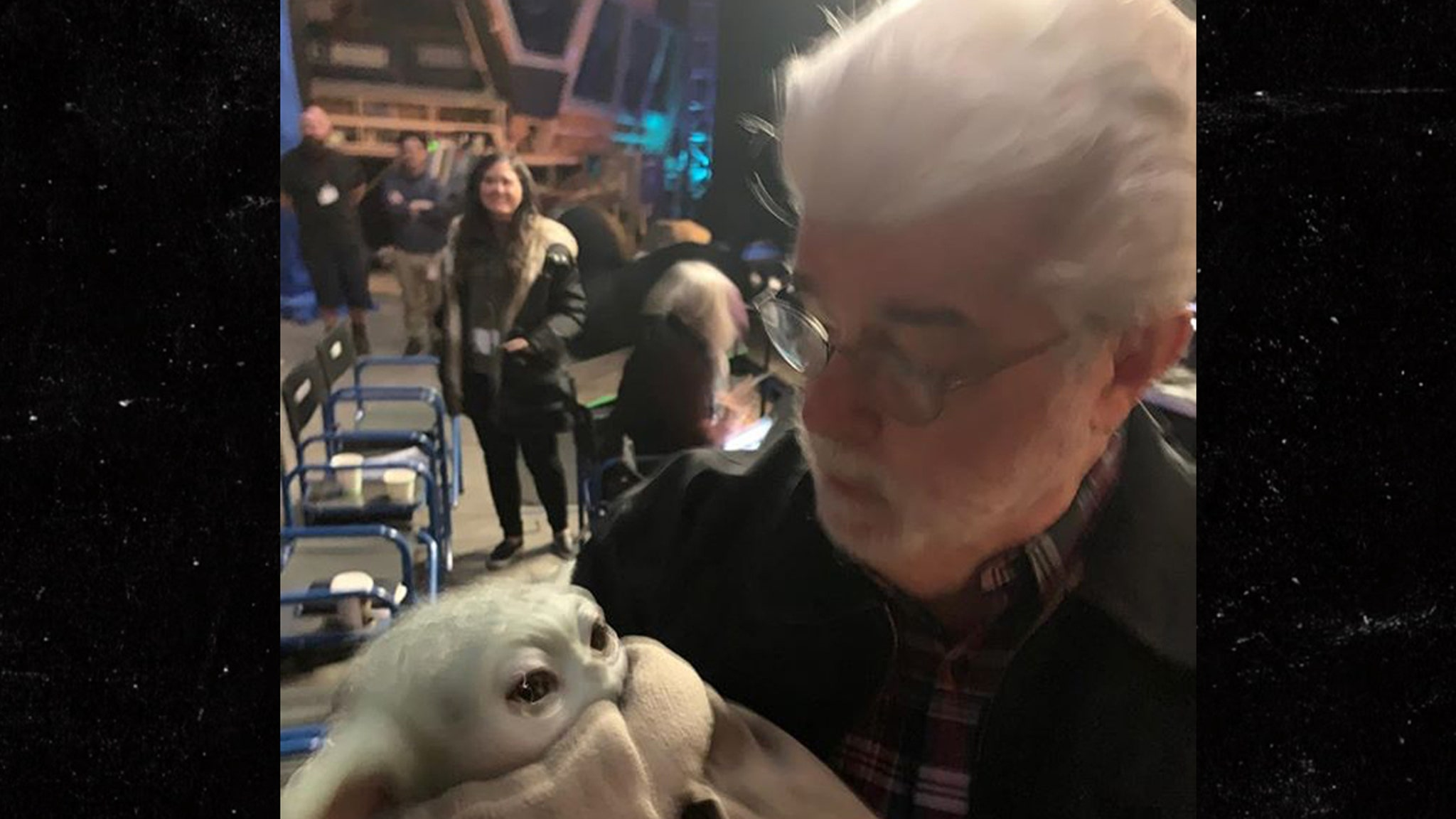 George Lucas Finally Meets Baby Yoda on Set of 'Mandalorian'