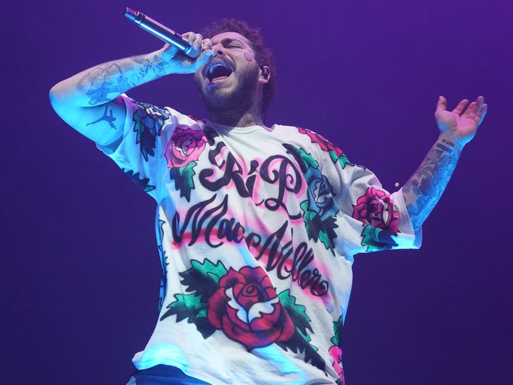 Post Malone Honors Mac Miller with Custom 'RIP' Shirt