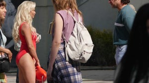 Seth Rogen Looks Unrecognizable Filming 'Pam & Tommy' on Hollywood Blvd