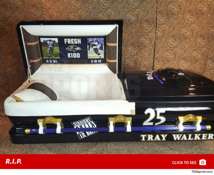 NFL's Tray Walker -- Custom Louis Vuitton Casket ... With Ravens Helmet
