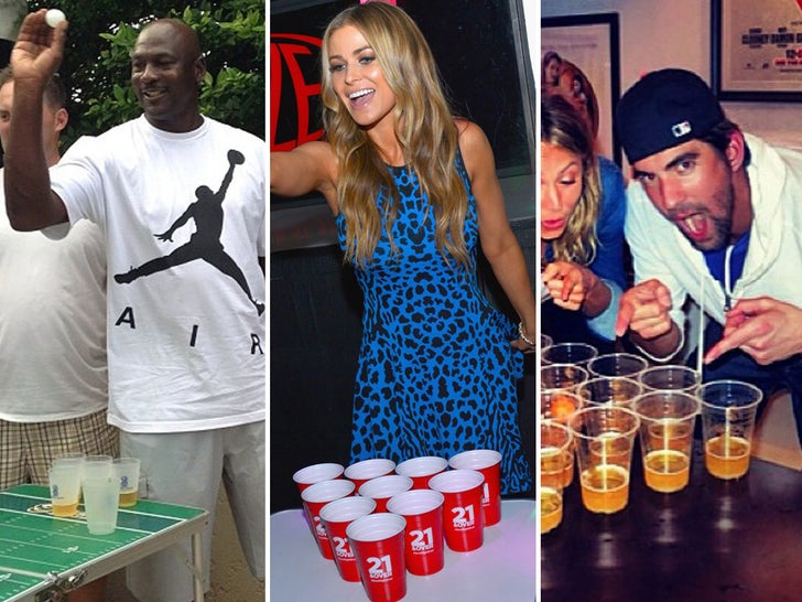 Stars Playing Beer Pong